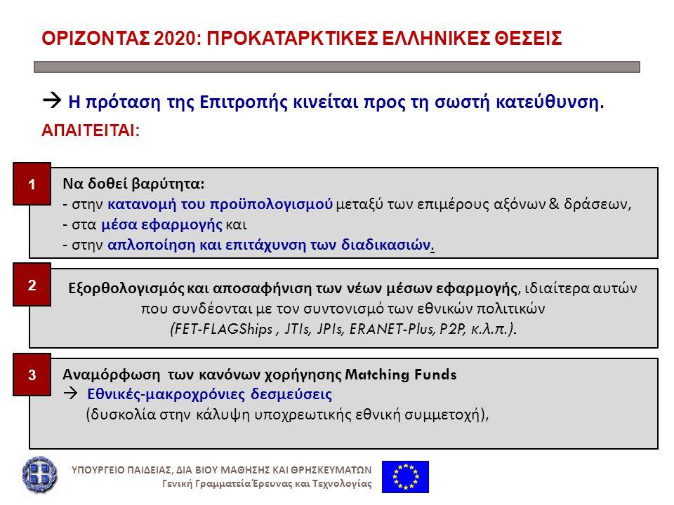 ΟΡΙΖΟΝΤΑΣ 2020: ΠΡΟΚΑΤΑΡΚΤΙΚΕΣ ΕΛΛΗΝΙΚΕΣ ΘΕΣΕΙΣ  Η πρόταση της Επιτροπής κινείται προς τη σωστή κατεύθυνση.