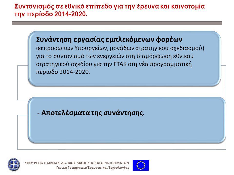 Συντονισμός σε εθνικό επίπεδο για την έρευνα και καινοτομία την περίοδο 2014-2020.