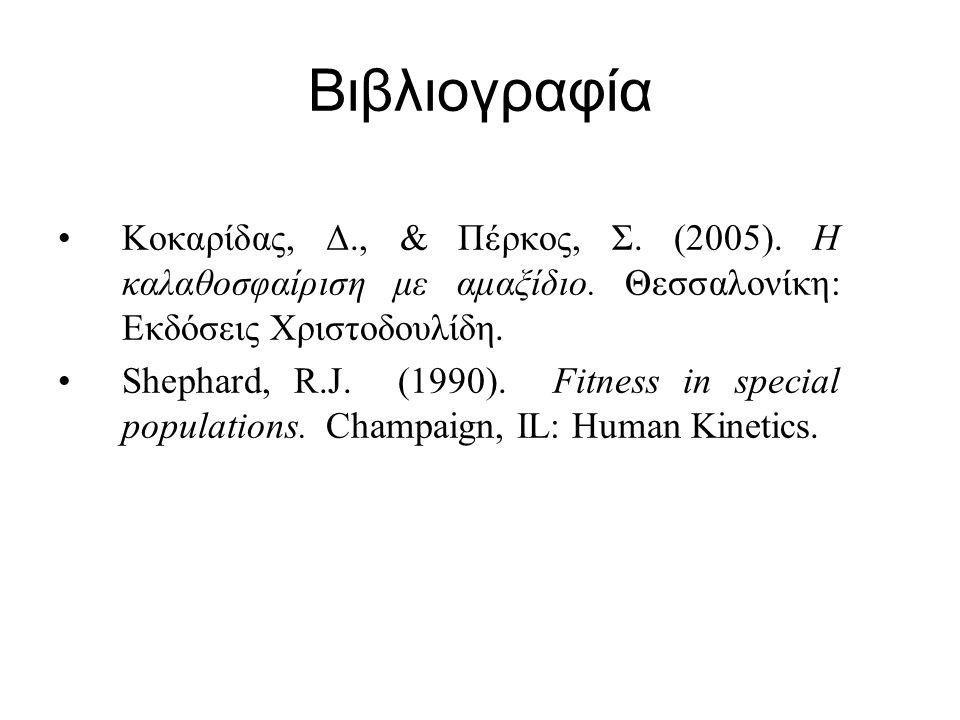 Βιβλιογραφία Κοκαρίδας, Δ., & Πέρκος, Σ. (2005). Η καλαθοσφαίριση με αμαξίδιο. Θεσσαλονίκη: Εκδόσεις Χριστοδουλίδη. Shephard, R.J. (1990). Fitness in