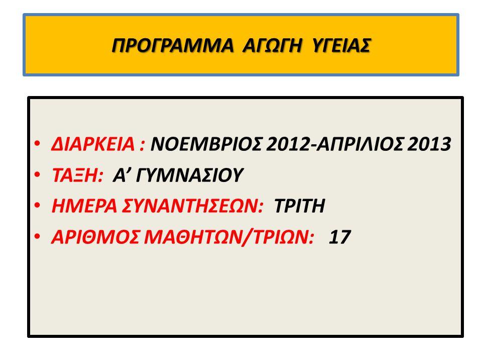 ΠΡΟΓΡΑΜΜΑ ΑΓΩΓΗ ΥΓΕΙΑΣ ΔΙΑΡΚΕΙΑ : ΝΟΕΜΒΡΙΟΣ 2012-ΑΠΡΙΛΙΟΣ 2013 ΤΑΞΗ: Α' ΓΥΜΝΑΣΙΟΥ ΗΜΕΡΑ ΣΥΝΑΝΤΗΣΕΩΝ: ΤΡΙΤΗ ΑΡΙΘΜΟΣ ΜΑΘΗΤΩΝ/ΤΡΙΩΝ: 17