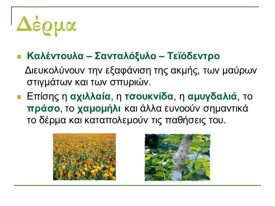 Δέρμα Καλέντουλα – Σανταλόξυλο – Τεϊόδεντρο Διευκολύνουν την εξαφάνιση της ακμής, των μαύρων στιγμάτων και των σπυριών.