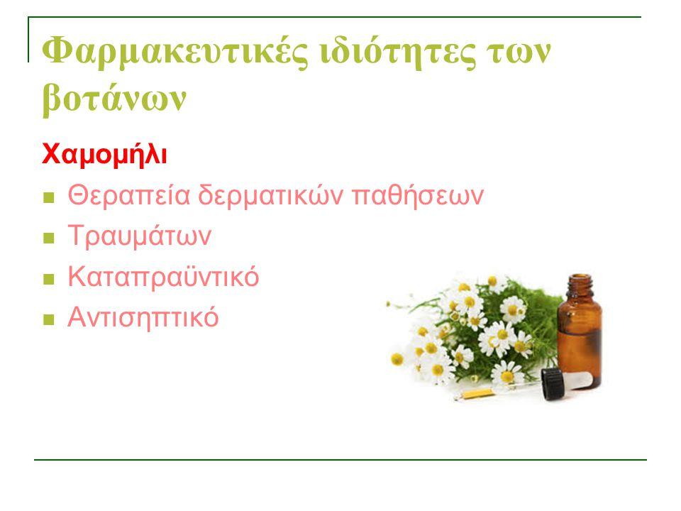 Φαρμακευτικές ιδιότητες των βοτάνων Χαμομήλι Θεραπεία δερματικών παθήσεων Τραυμάτων Καταπραϋντικό Αντισηπτικό