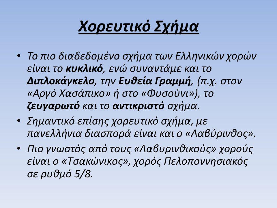 Χορευτικό Σχήμα Το πιο διαδεδομένο σχήμα των Ελληνικών χορών είναι το κυκλικό, ενώ συναντάμε και το Διπλοκάγκελο, την Ευθεία Γραμμή, (π.χ. στον «Αργό