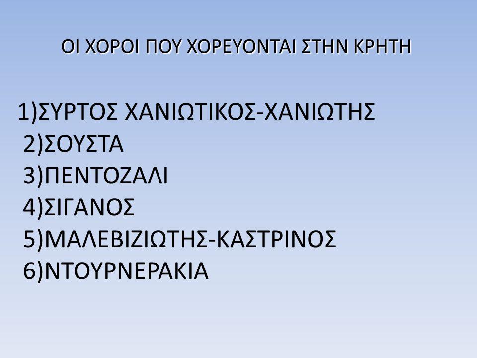 ΟΙ ΧΟΡΟΙ ΠΟΥ ΧΟΡΕΥΟΝΤΑΙ ΣΤΗΝ ΚΡΗΤΗ 1)ΣΥΡΤΟΣ ΧΑΝΙΩΤΙΚΟΣ-ΧΑΝΙΩΤΗΣ 2)ΣΟΥΣΤΑ 3)ΠΕΝΤΟΖΑΛΙ 4)ΣΙΓΑΝΟΣ 5)ΜΑΛΕΒΙΖΙΩΤΗΣ-ΚΑΣΤΡΙΝΟΣ 6)ΝΤΟΥΡΝΕΡΑΚΙΑ