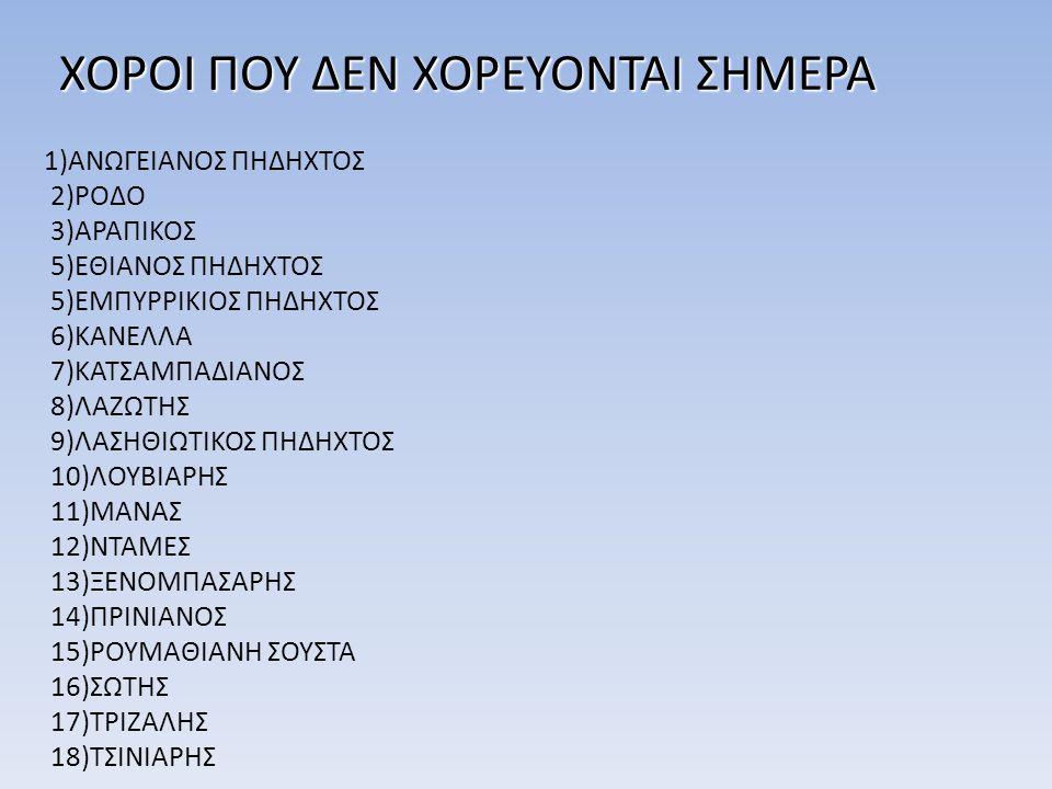 ΧΟΡΟΙ ΠΟΥ ΔΕΝ ΧΟΡΕΥΟΝΤΑΙ ΣΗΜΕΡΑ 1)ΑΝΩΓΕΙΑΝΟΣ ΠΗΔΗΧΤΟΣ 2)ΡΟΔΟ 3)ΑΡΑΠΙΚΟΣ 5)ΕΘΙΑΝΟΣ ΠΗΔΗΧΤΟΣ 5)ΕΜΠΥΡΡΙΚΙΟΣ ΠΗΔΗΧΤΟΣ 6)ΚΑΝΕΛΛΑ 7)ΚΑΤΣΑΜΠΑΔΙΑΝΟΣ 8)ΛΑΖΩΤΗΣ
