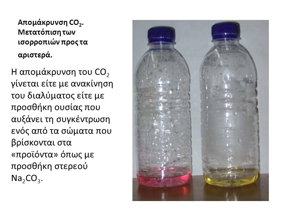 Απομάκρυνση CO 2. Μετατόπιση των ισορροπιών προς τα αριστερά. Η απομάκρυνση του CO 2 γίνεται είτε με ανακίνηση του διαλύματος είτε με προσθήκη ουσίας