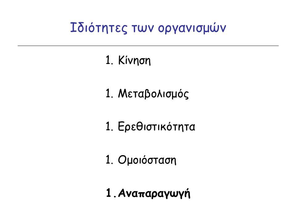 Ιδιότητες των οργανισμών 1.Κίνηση 1.Μεταβολισμός 1.Ερεθιστικότητα 1.Ομοιόσταση 1.Αναπαραγωγή