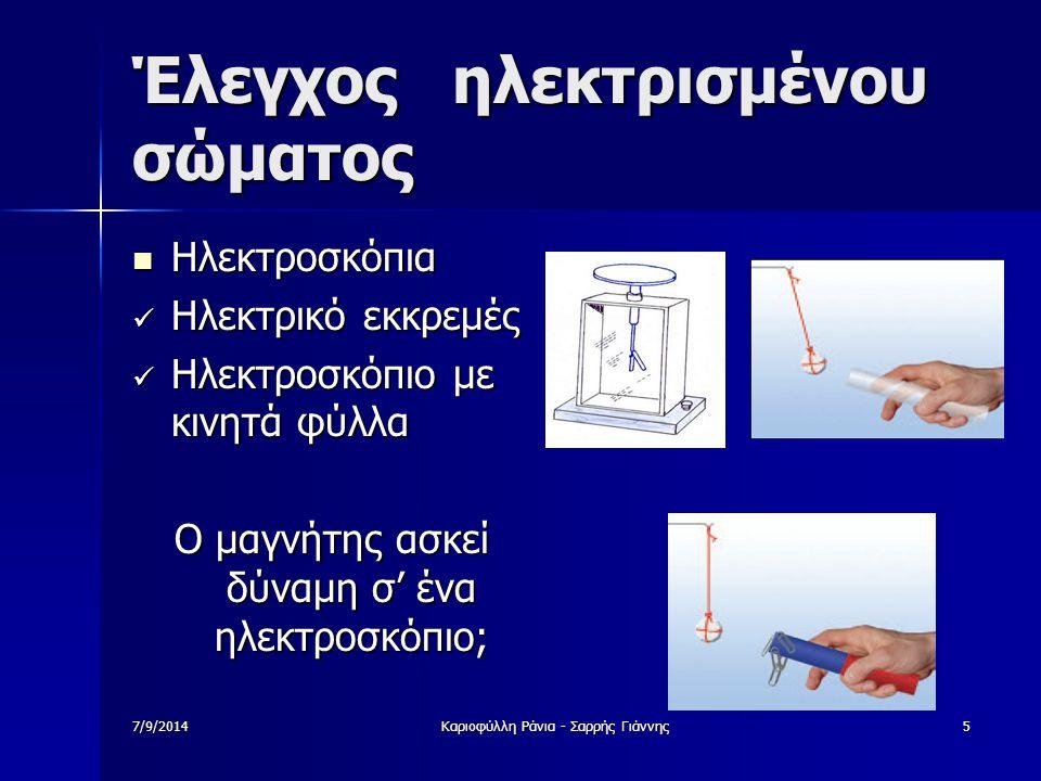7/9/2014Καριοφύλλη Ράνια - Σαρρής Γιάννης6 ΗΛΕΚΤΡΙΚΟ ΦΟΡΤΙΟ (Ι) Τι είναι αυτό που κάνει τα σώματα ηλεκτρισμένα; Τι είναι αυτό που κάνει τα σώματα ηλεκτρισμένα; Μήπως αυτό έχει να κάνει με τη δομή της ύλης;