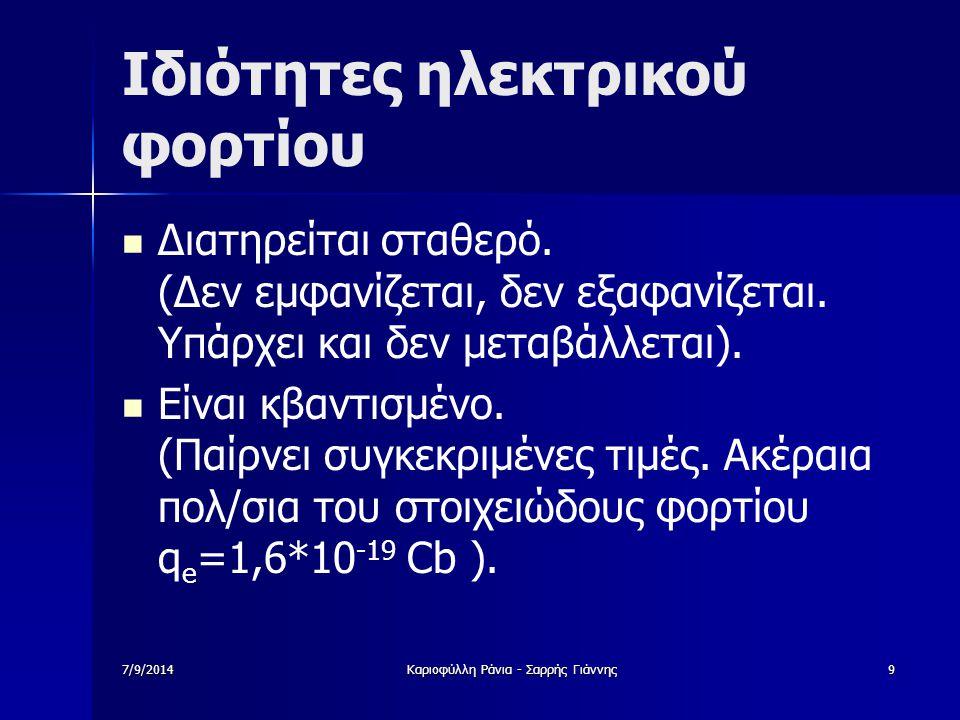 7/9/2014Καριοφύλλη Ράνια - Σαρρής Γιάννης9 Ιδιότητες ηλεκτρικού φορτίου Διατηρείται σταθερό. (Δεν εμφανίζεται, δεν εξαφανίζεται. Υπάρχει και δεν μεταβ