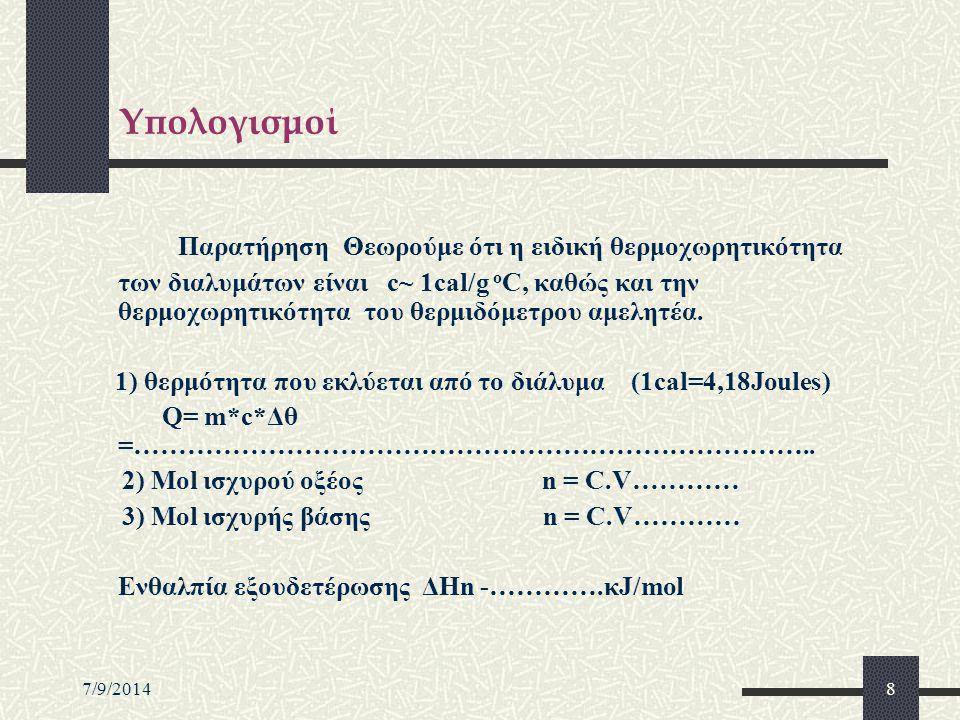7/9/20149 …Συνέχεια υπολογισμών Οι μετρήσεις μας από το εργαστήριο 1) Τελική μάζα συστήματος m τελική =109,42.g 2) Αρχική θερμιδομέτρου - m αρχική =…6,35.g Μάζα διαλύματος αντίδρασης m διαλύματος =103,07g 3) Tελική θερμοκρασία διαλύματος θ τελική =31,40 o C 4) Aρχική θερμοκρασία διαλύματος -θ αρχική =18,20 o C Μεταβολή θερμοκρασίας Δθ=13,20 o C Q=m*c*Δθ Q=103,07x1x13,2cal=1360,524cal=1360,524x4,18J=5686,99J=5,69kJ.