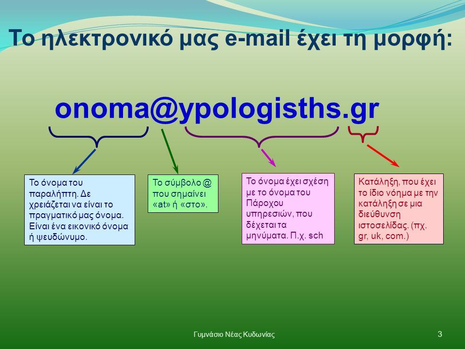 onoma@ypologisths.gr Το όνομα του παραλήπτη. Δε χρειάζεται να είναι το πραγματικό μας όνομα. Είναι ένα εικονικό όνομα ή ψευδώνυμο. Το σύμβολο @ που ση
