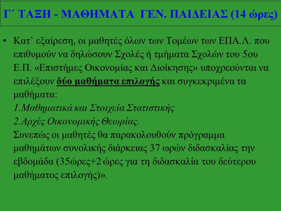 ΚΑΤΗΓΟΡΙΑΜΑΘΗΜΑΩΡΕΣ Α΄ ΟΜΑΔΑ* (για υποψήφιους μόνο ΤΕΙ) Νεοελληνική Γλώσσα (ΓΕ.Λ.) 2 Μαθηματικά Ι 5 Φυσική Ι 3 Β΄ ΟΜΑΔΑ * (για υποψήφιους ΑΕΙ και ΤΕΙ)