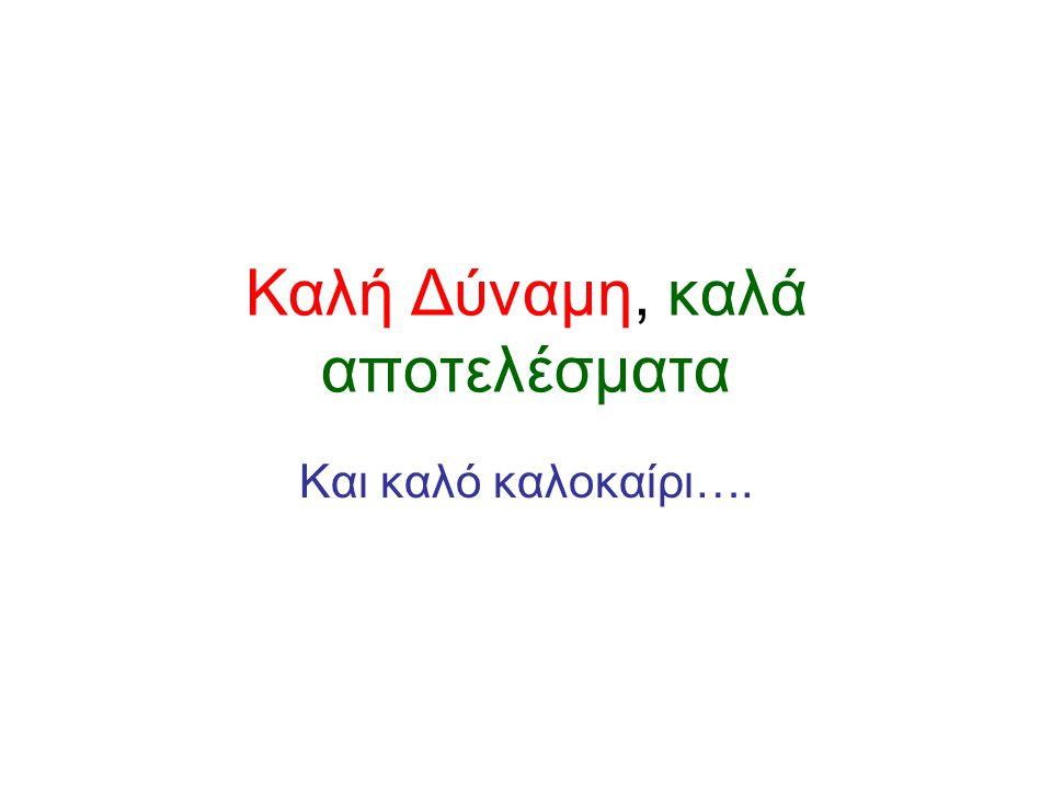 Καλή Δύναμη, καλά αποτελέσματα Και καλό καλοκαίρι….