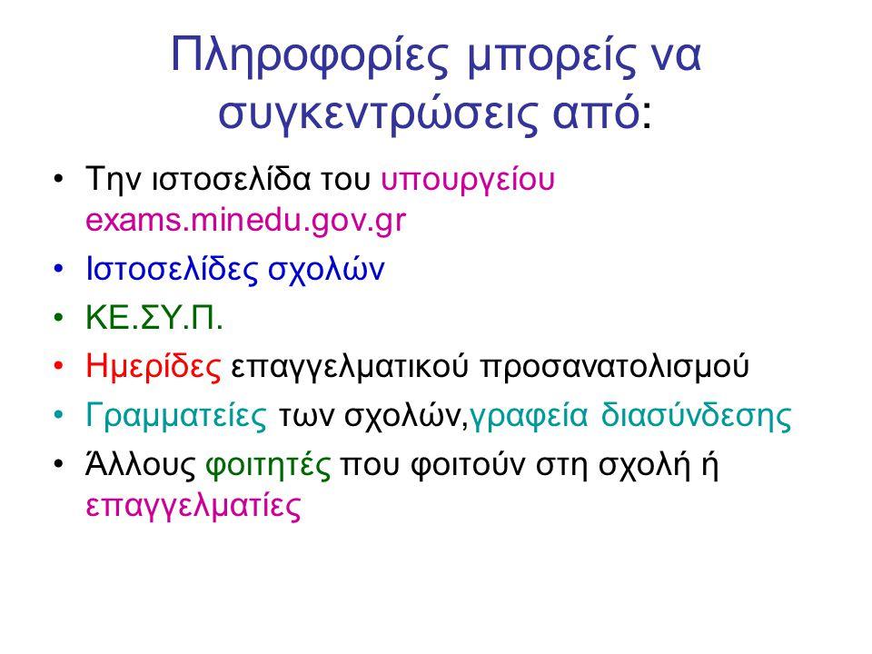 Πληροφορίες μπορείς να συγκεντρώσεις από: Την ιστοσελίδα του υπουργείου exams.minedu.gov.gr Ιστοσελίδες σχολών ΚΕ.ΣΥ.Π. Ημερίδες επαγγελματικού προσαν
