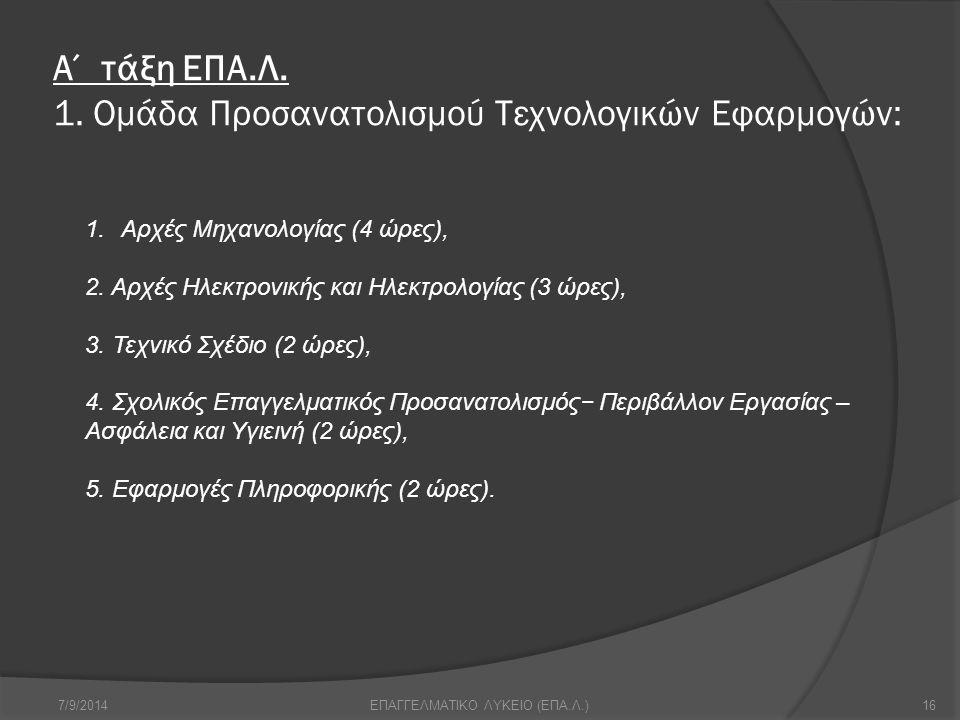7/9/201416ΕΠΑΓΓΕΛΜΑΤΙΚΟ ΛΥΚΕΙΟ (ΕΠΑ.Λ.) Α΄ τάξη ΕΠΑ.Λ. 1. Ομάδα Προσανατολισμού Τεχνολογικών Εφαρμογών: 1.Αρχές Μηχανολογίας (4 ώρες), 2. Αρχές Ηλεκτρ
