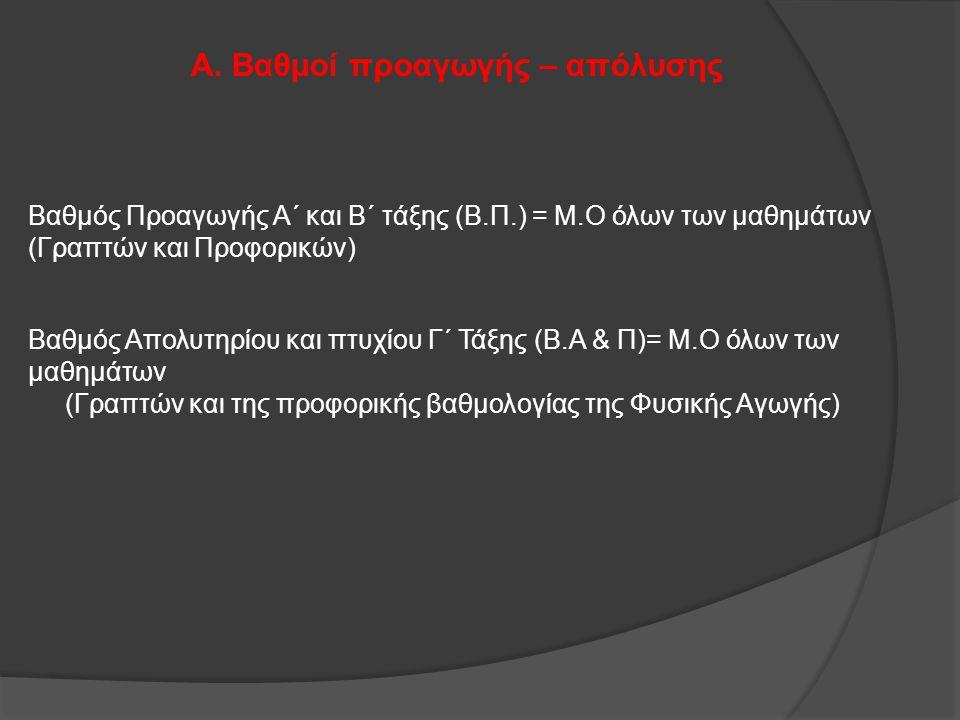 Α. Βαθμοί προαγωγής – απόλυσης Βαθμός Προαγωγής Α΄ και Β΄ τάξης (Β.Π.) = Μ.Ο όλων των μαθημάτων (Γραπτών και Προφορικών) Βαθμός Απολυτηρίου και πτυχίο
