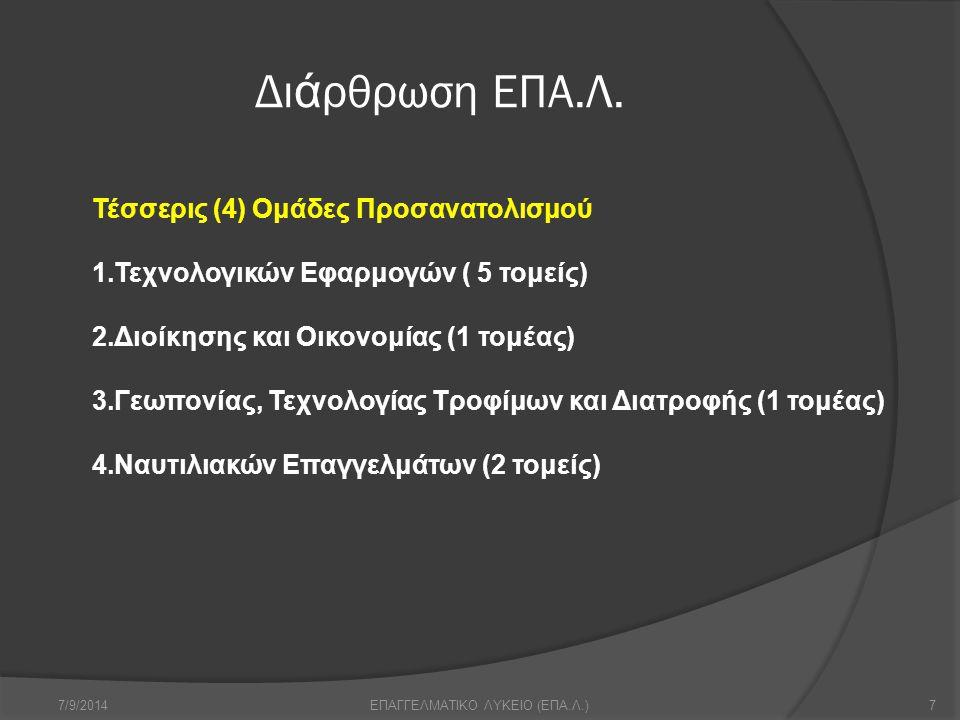 Δι ά ρθρωση ΕΠΑ.Λ. 7/9/20147ΕΠΑΓΓΕΛΜΑΤΙΚΟ ΛΥΚΕΙΟ (ΕΠΑ.Λ.) Τέσσερις (4) Ομάδες Προσανατολισμού 1.Τεχνολογικών Εφαρμογών ( 5 τομείς) 2.Διοίκησης και Οικ