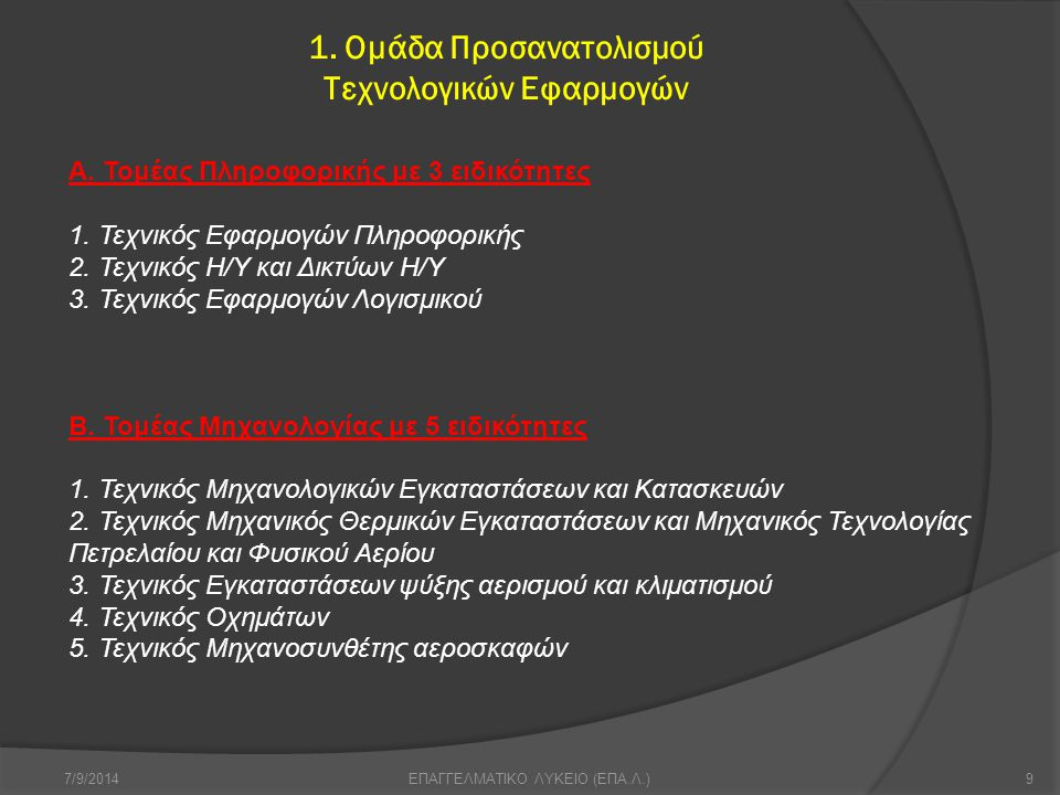 1. Ομάδα Προσανατολισμού Τεχνολογικών Εφαρμογών 7/9/20149ΕΠΑΓΓΕΛΜΑΤΙΚΟ ΛΥΚΕΙΟ (ΕΠΑ.Λ.) Α. Τομέας Πληροφορικής με 3 ειδικότητες 1. Τεχνικός Εφαρμογών Π