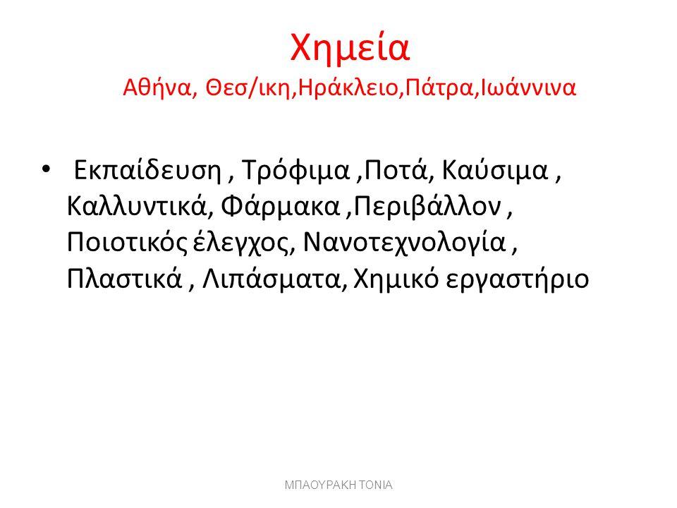 Χημεία Αθήνα, Θεσ/ικη,Ηράκλειο,Πάτρα,Ιωάννινα Εκπαίδευση, Τρόφιμα,Ποτά, Καύσιμα, Καλλυντικά, Φάρμακα,Περιβάλλον, Ποιοτικός έλεγχος, Νανοτεχνολογία, Πλαστικά, Λιπάσματα, Χημικό εργαστήριο ΜΠΑΟΥΡΑΚΗ ΤΟΝΙΑ