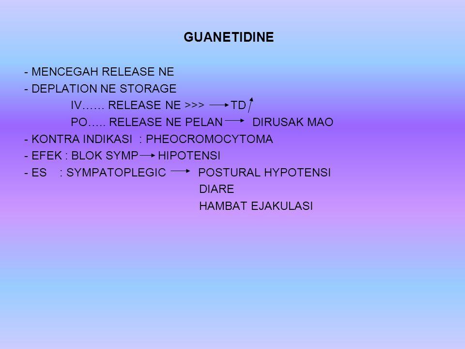 GUANETIDINE - MENCEGAH RELEASE NE - DEPLATION NE STORAGE IV…… RELEASE NE >>> TD PO…..