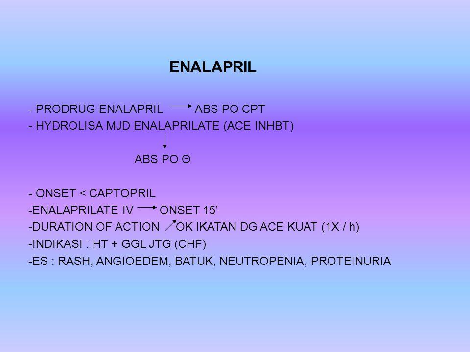 ENALAPRIL - PRODRUG ENALAPRIL ABS PO CPT - HYDROLISA MJD ENALAPRILATE (ACE INHBT) ABS PO Θ - ONSET < CAPTOPRIL -ENALAPRILATE IV ONSET 15' -DURATION OF ACTION OK IKATAN DG ACE KUAT (1X / h) -INDIKASI : HT + GGL JTG (CHF) -ES : RASH, ANGIOEDEM, BATUK, NEUTROPENIA, PROTEINURIA