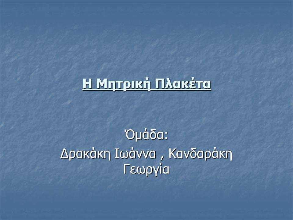Η Μητρική Πλακέτα Όμάδα: Δρακάκη Ιωάννα, Κανδαράκη Γεωργία