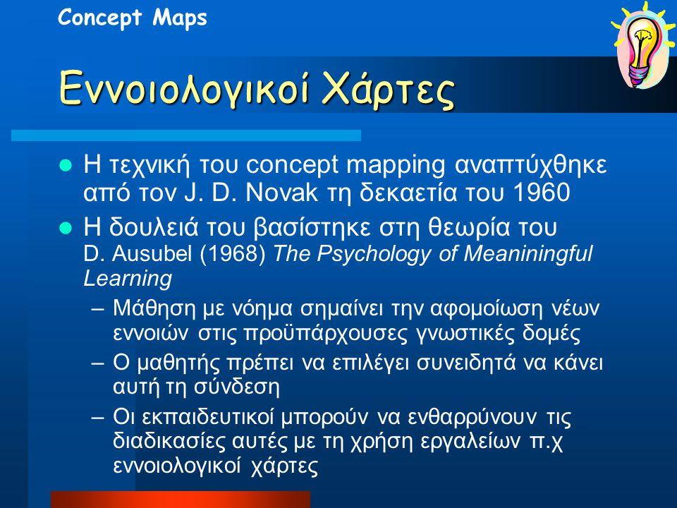 Εννοιολογικοί Χάρτες Η τεχνική του concept mapping αναπτύχθηκε από τον J. D. Novak τη δεκαετία του 1960 Η δουλειά του βασίστηκε στη θεωρία του D. Ausu