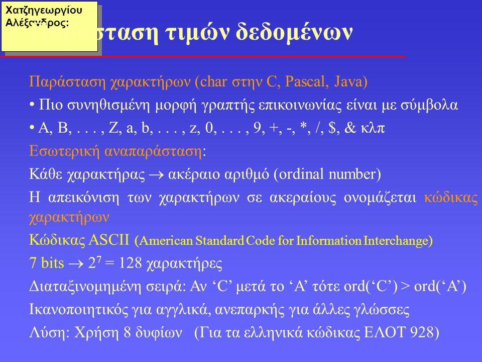 Χατζηγεωργίου Αλέξανδρος: Παράσταση χαρακτήρων (char στην C, Pascal, Java) Πιο συνηθισμένη μορφή γραπτής επικοινωνίας είναι με σύμβολα Α, Β,..., Ζ, a, b,..., z, 0,..., 9, +, -, *, /, $, & κλπ Εσωτερική αναπαράσταση: Κάθε χαρακτήρας  ακέραιο αριθμό (ordinal number) Η απεικόνιση των χαρακτήρων σε ακεραίους ονομάζεται κώδικας χαρακτήρων Κώδικας ASCII (American Standard Code for Information Interchange) 7 bits  2 7 = 128 χαρακτήρες Διαταξινομημένη σειρά: Αν 'C' μετά το 'Α' τότε ord('C') > ord('A') Ικανοποιητικός για αγγλικά, ανεπαρκής για άλλες γλώσσες Λύση: Χρήση 8 δυφίων (Για τα ελληνικά κώδικας ΕΛΟΤ 928) Παράσταση τιμών δεδομένων