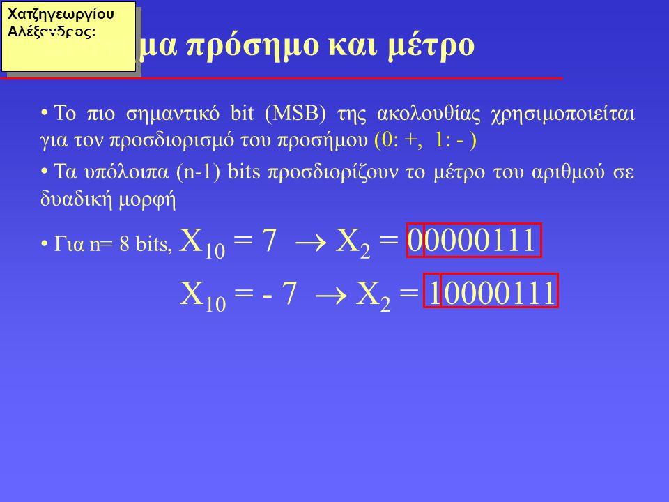 Χατζηγεωργίου Αλέξανδρος: Το πιο σημαντικό bit (ΜSB) της ακολουθίας χρησιμοποιείται για τον προσδιορισμό του προσήμου (0: +, 1: - ) Τα υπόλοιπα (n-1) bits προσδιορίζουν το μέτρο του αριθμού σε δυαδική μορφή Για n= 8 bits, Χ 10 = 7  Χ 2 = 00000111 Σύστημα πρόσημο και μέτρο Χ 10 = - 7  Χ 2 = 10000111