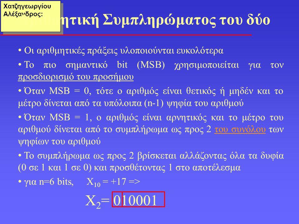 Χατζηγεωργίου Αλέξανδρος: Οι αριθμητικές πράξεις υλοποιούνται ευκολότερα Το πιο σημαντικό bit (ΜSB) χρησιμοποιείται για τον προσδιορισμό του προσήμου Όταν MSB = 0, τότε ο αριθμός είναι θετικός ή μηδέν και το μέτρο δίνεται από τα υπόλοιπα (n-1) ψηφία του αριθμού Όταν ΜSB = 1, ο αριθμός είναι αρνητικός και το μέτρο του αριθμού δίνεται από το συμπλήρωμα ως προς 2 του συνόλου των ψηφίων του αριθμού To συμπλήρωμα ως προς 2 βρίσκεται αλλάζοντας όλα τα δυφία (0 σε 1 και 1 σε 0) και προσθέτοντας 1 στο αποτέλεσμα για n=6 bits, Χ 10 = +17 => Χ 2 = 010001 Αριθμητική Συμπληρώματος του δύο