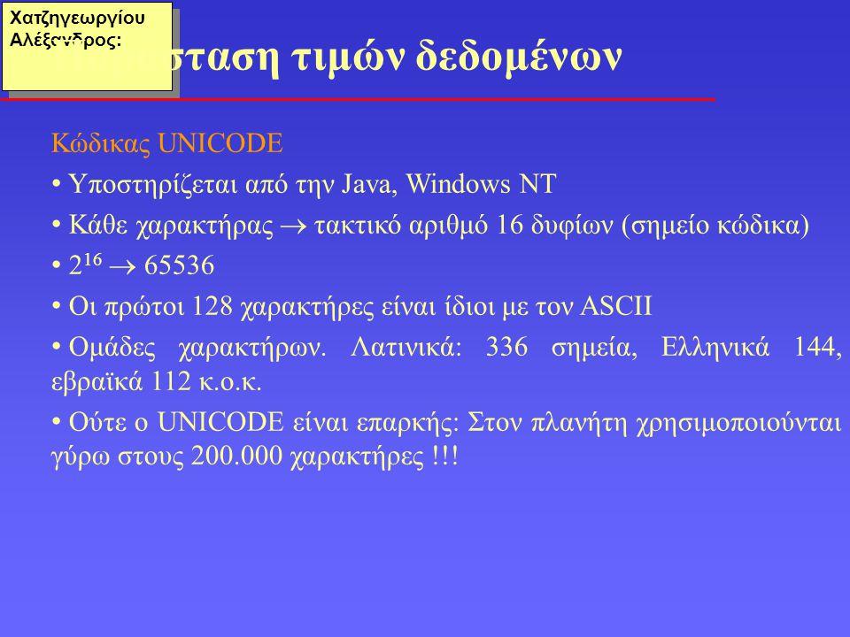 Χατζηγεωργίου Αλέξανδρος: Κώδικας UNICODE Υποστηρίζεται από την Java, Windows NT Κάθε χαρακτήρας  τακτικό αριθμό 16 δυφίων (σημείο κώδικα) 2 16  65536 Οι πρώτοι 128 χαρακτήρες είναι ίδιοι με τον ASCII Ομάδες χαρακτήρων.