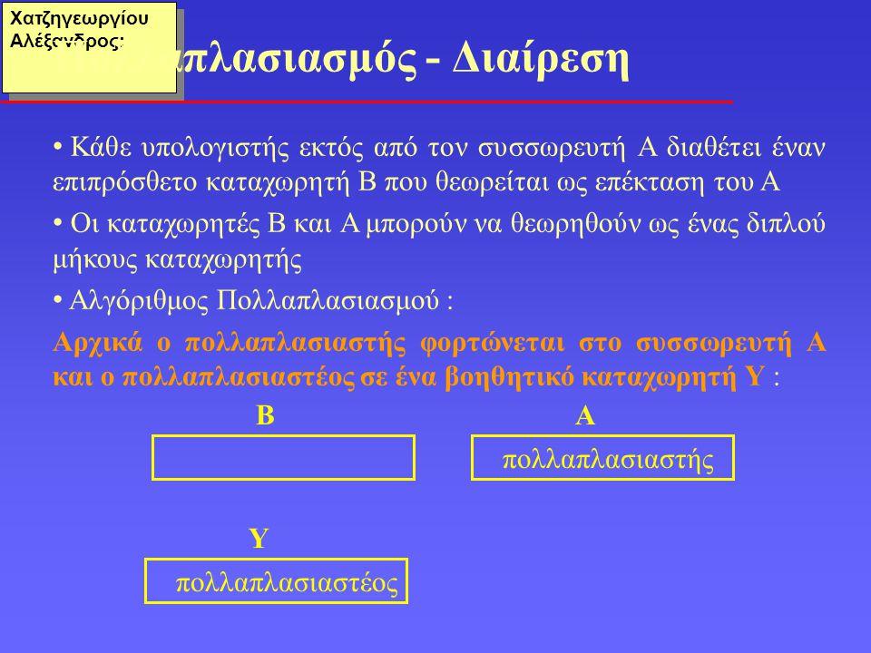 Χατζηγεωργίου Αλέξανδρος: Κάθε υπολογιστής εκτός από τον συσσωρευτή Α διαθέτει έναν επιπρόσθετο καταχωρητή Β που θεωρείται ως επέκταση του Α Οι καταχωρητές Β και Α μπορούν να θεωρηθούν ως ένας διπλού μήκους καταχωρητής Αλγόριθμος Πολλαπλασιασμού : Αρχικά ο πολλαπλασιαστής φορτώνεται στο συσσωρευτή Α και ο πολλαπλασιαστέος σε ένα βοηθητικό καταχωρητή Υ : Πολλαπλασιασμός - Διαίρεση ΒΑ πολλαπλασιαστής Υ πολλαπλασιαστέος