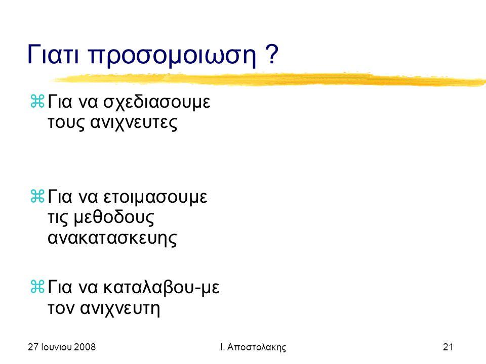 27 Ιουνιου 2008 Ι. Αποστολακης 21 Γιατι προσομοιωση .