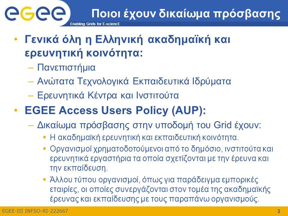 Enabling Grids for E-sciencE EGEE-III INFSO-RI-222667 3 Ποιοι έχουν δικαίωμα πρόσβασης Γενικά όλη η Ελληνική ακαδημαϊκή και ερευνητική κοινότητα: –Πανεπιστήμια –Ανώτατα Τεχνολογικά Εκπαιδευτικά Ιδρύματα –Ερευνητικά Κέντρα και Ινστιτούτα EGEE Access Users Policy (AUP): –Δικαίωμα πρόσβασης στην υποδομή του Grid έχουν:  Η ακαδημαϊκή ερευνητική και εκπαιδευτική κοινότητα.