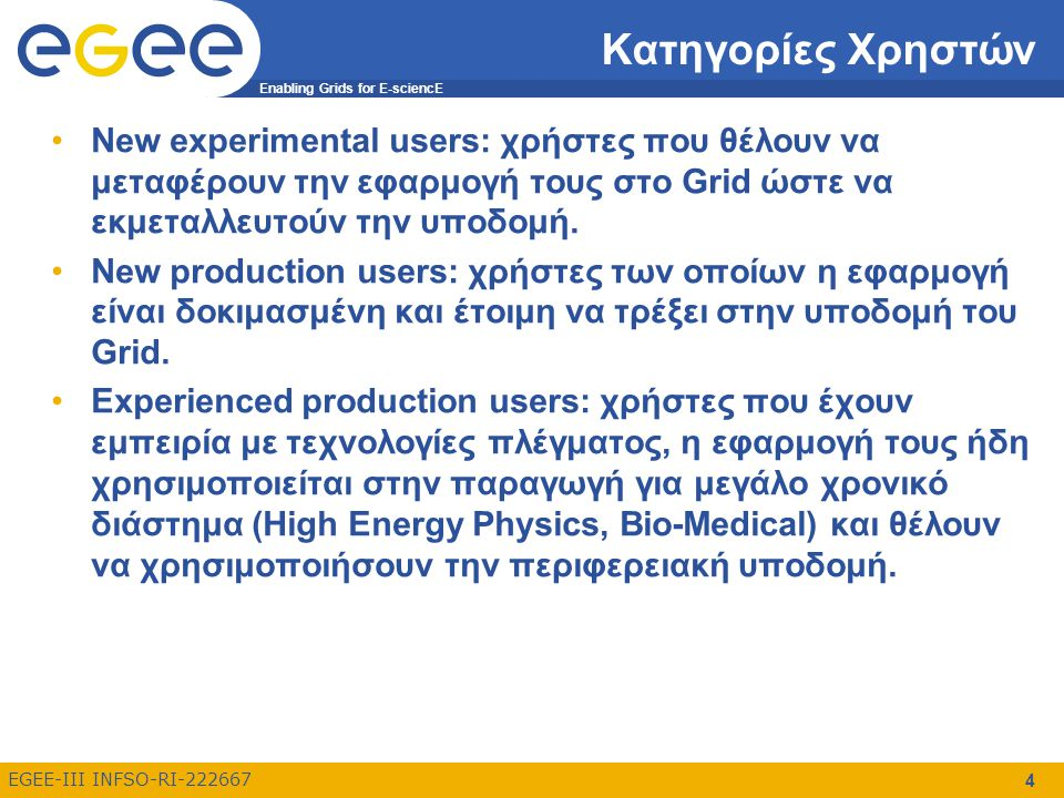 Enabling Grids for E-sciencE EGEE-III INFSO-RI-222667 55 Που μπορώ να βρω επιπλέον πληροφορίες (2) EGEE tutorials –http://www.egee.nesc.ac.uk/schedreg/index.htmlhttp://www.egee.nesc.ac.uk/schedreg/index.html –Διάφορα tutorials σχετικά με το EGEE gLite 3.0 Users' Guide –https://edms.cern.ch/file/722398//gLite-3-UserGuide.pdfhttps://edms.cern.ch/file/722398//gLite-3-UserGuide.pdf –Οδηγός χρήσης του gLite middleware Glite documentation –http://glite.web.cern.ch/glite/documentation/http://glite.web.cern.ch/glite/documentation/ –Τεκμηρίωση σχετικά με το gLite middleware