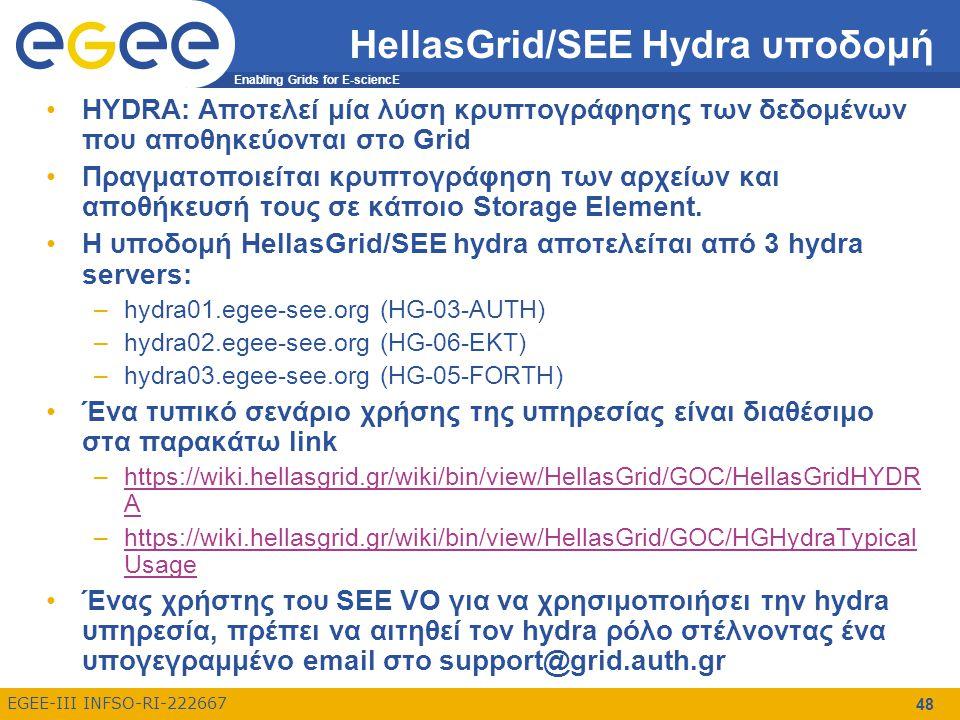 Enabling Grids for E-sciencE EGEE-III INFSO-RI-222667 HellasGrid/SEE Hydra υποδομή HYDRA: Αποτελεί μία λύση κρυπτογράφησης των δεδομένων που αποθηκεύονται στο Grid Πραγματοποιείται κρυπτογράφηση των αρχείων και αποθήκευσή τους σε κάποιο Storage Element.