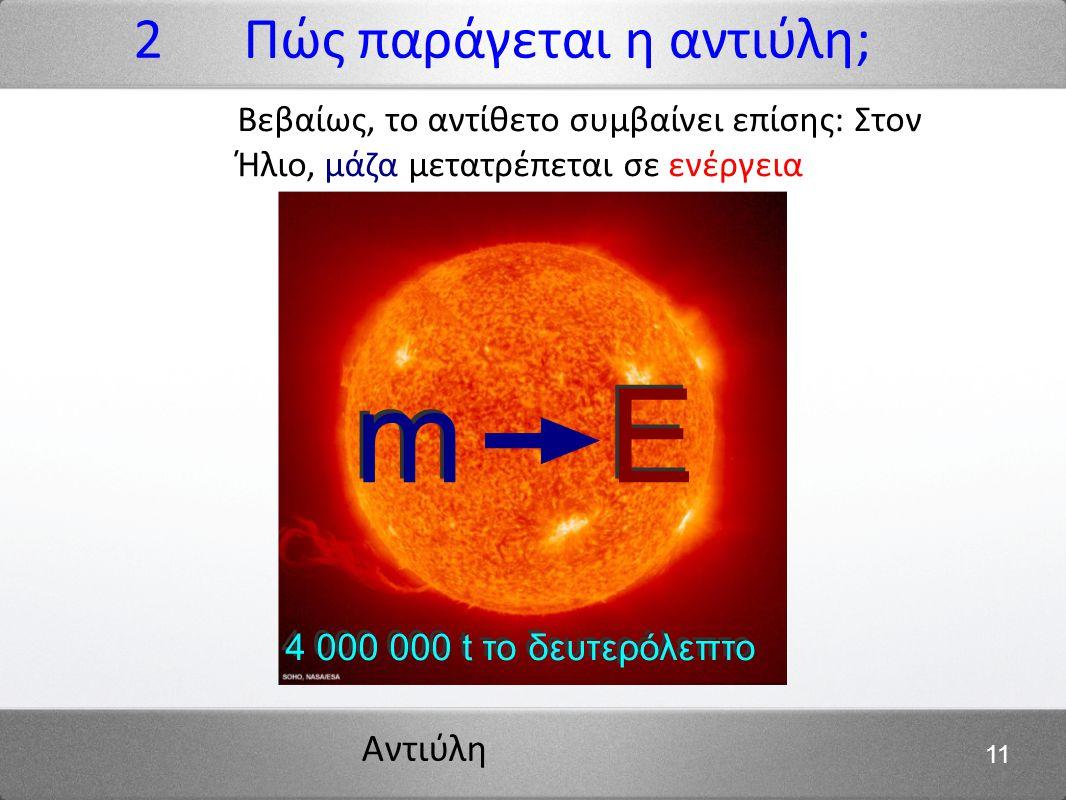 Αντιύλη 11 2 Πώς παράγεται η αντιύλη; m E 4 000 000 t το δευτερόλεπτο Βεβαίως, το αντίθετο συμβαίνει επίσης: Στον Ήλιο, μάζα μετατρέπεται σε ενέργεια