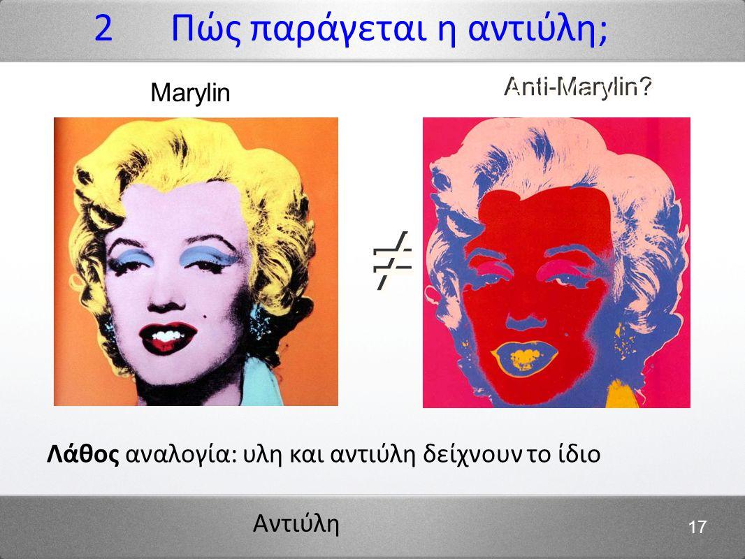 Αντιύλη 17 2 Πώς παράγεται η αντιύλη; ≠ ≠ Anti-Marylin? Λάθος αναλογία: υλη και αντιύλη δείχνουν το ίδιο Marylin