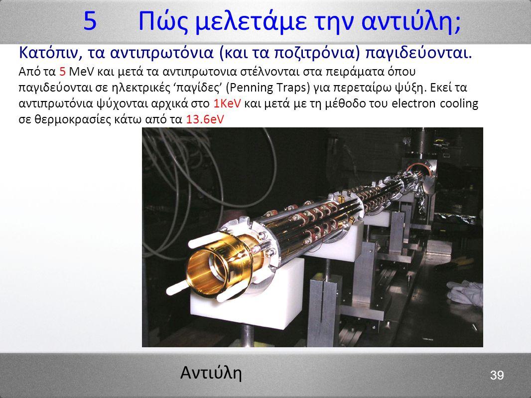 Αντιύλη 39 Κατόπιν, τα αντιπρωτόνια (και τα ποζιτρόνια) παγιδεύονται. Από τα 5 MeV και μετά τα αντιπρωτονια στέλνονται στα πειράματα όπου παγιδεύονται