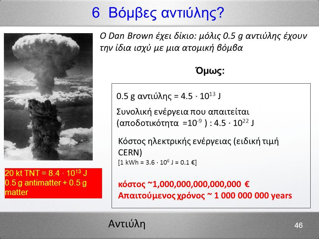 Αντιύλη 46 6 Βόμβες αντιύλης? 20 kt TNT = 8.4 · 10 13 J 0.5 g antimatter + 0.5 g matter Ο Dan Brown έχει δίκιο: μόλις 0.5 g αντιύλης έχουν την ίδια ισ