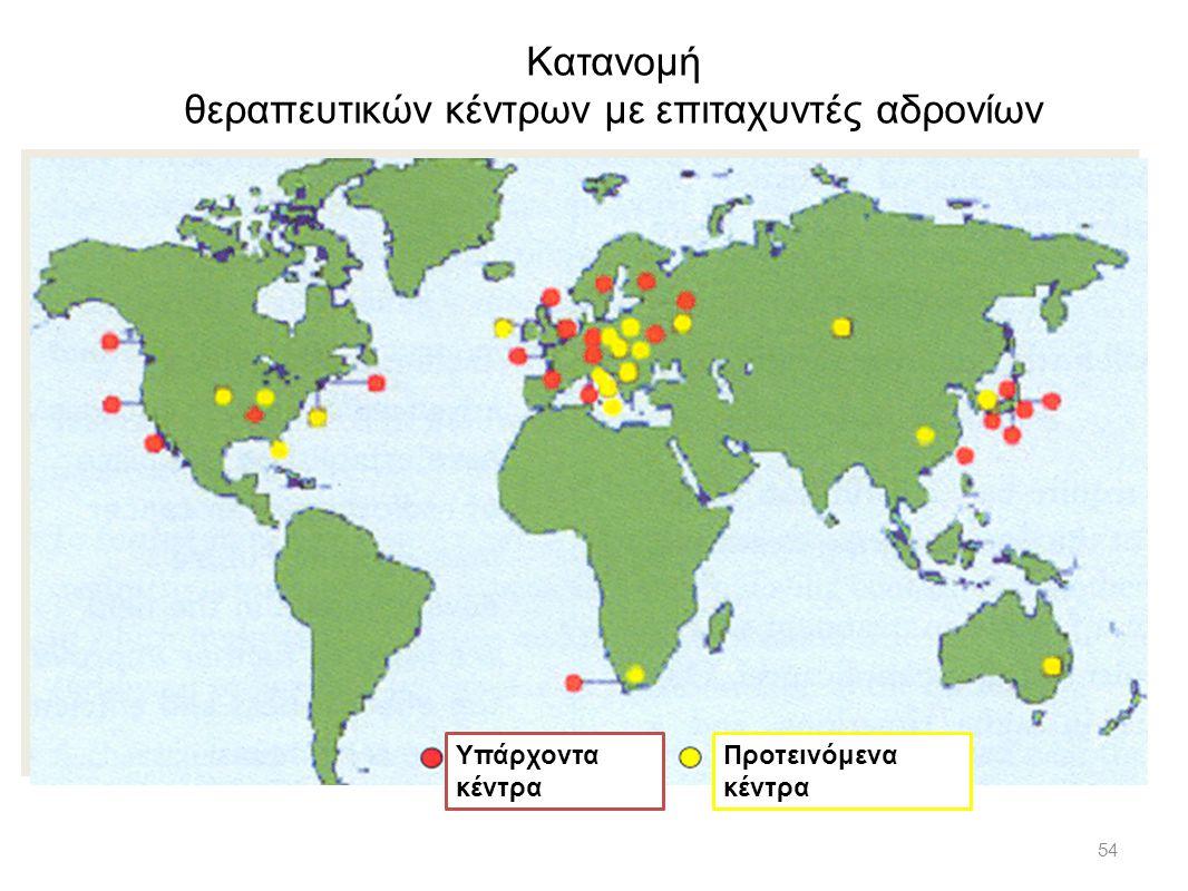 54 Κατανομή θεραπευτικών κέντρων με επιταχυντές αδρονίων Υπάρχοντα κέντρα Προτεινόμενα κέντρα