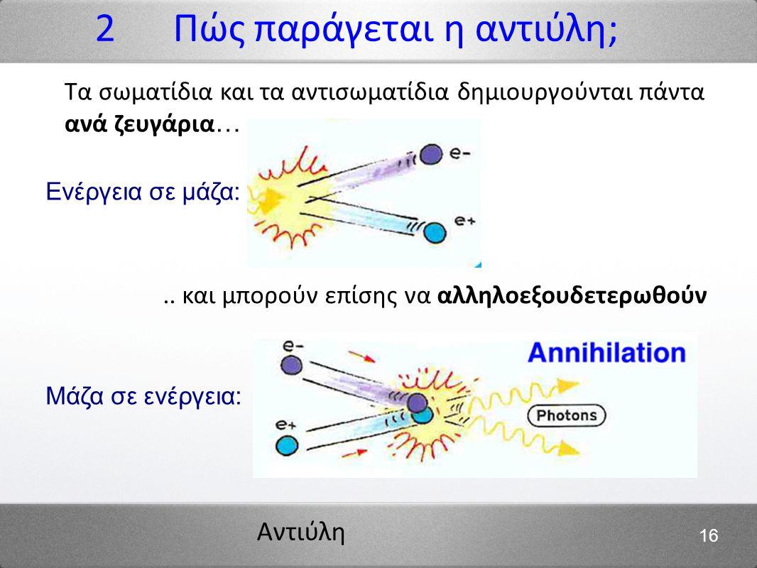 Αντιύλη 16 2 Πώς παράγεται η αντιύλη; Τα σωματίδια και τα αντισωματίδια δημιουργούνται πάντα ανά ζευγάρια ….. και μπορούν επίσης να αλληλοεξουδετερωθο