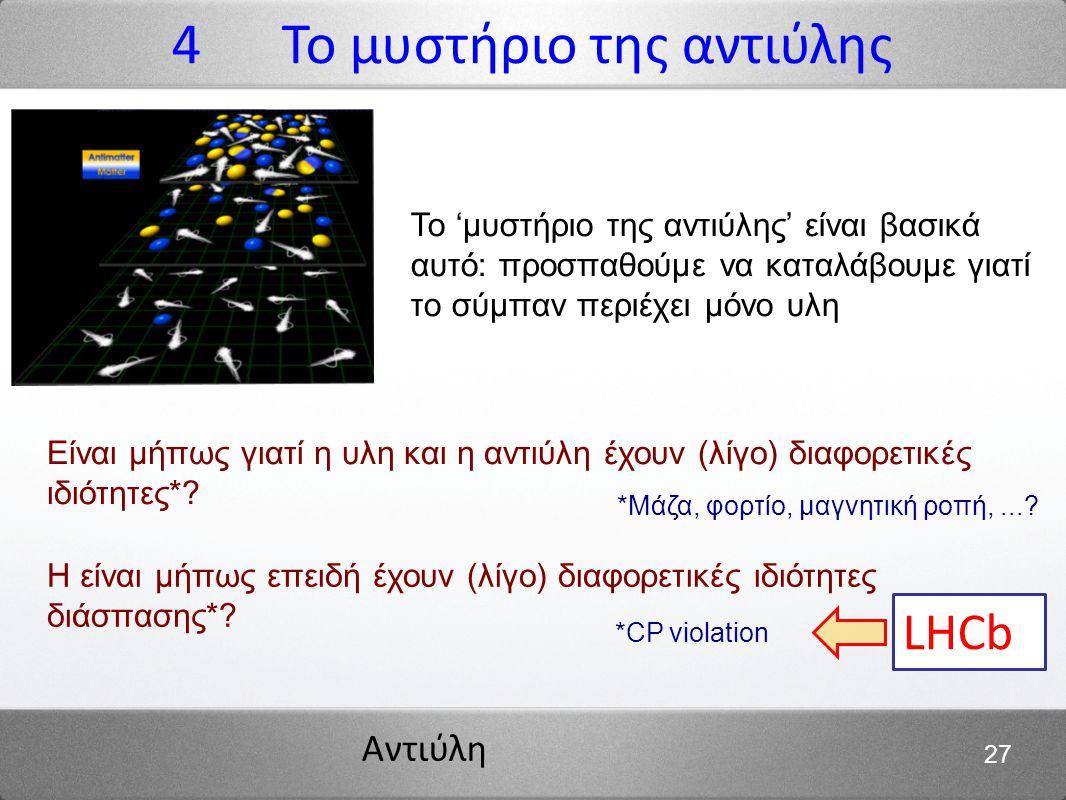 Αντιύλη 27 Το 'μυστήριο της αντιύλης' είναι βασικά αυτό: προσπαθούμε να καταλάβουμε γιατί το σύμπαν περιέχει μόνο υλη Είναι μήπως γιατί η υλη και η αν