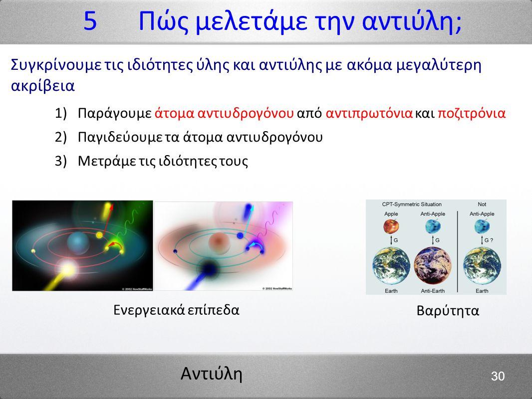 Αντιύλη 30 Συγκρίνουμε τις ιδιότητες ύλης και αντιύλης με ακόμα μεγαλύτερη ακρίβεια 1) Παράγουμε άτομα αντιυδρογόνου από αντιπρωτόνια και ποζιτρόνια 2