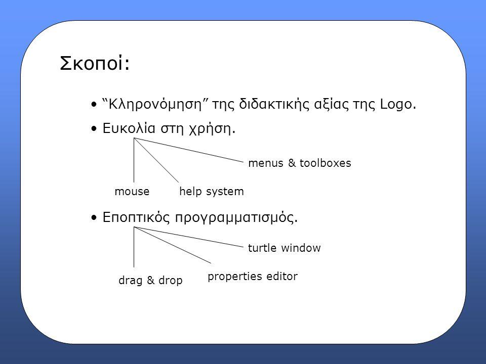 """Σκοποί: """"Κληρονόμηση"""" της διδακτικής αξίας της Logo. Ευκολία στη χρήση. Εποπτικός προγραμματισμός. mousehelp system menus & toolboxes drag & drop prop"""
