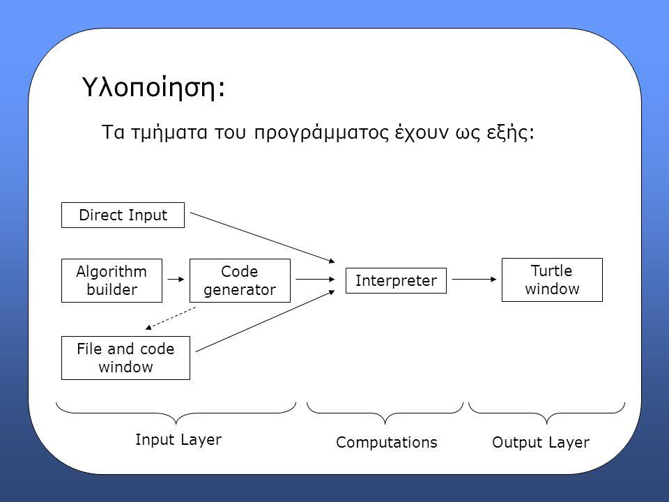 Υλοποίηση: Input Layer: Direct Input  Παράθυρο εισαγωγής εντολών που εκτελούνται απ'ευθείας.