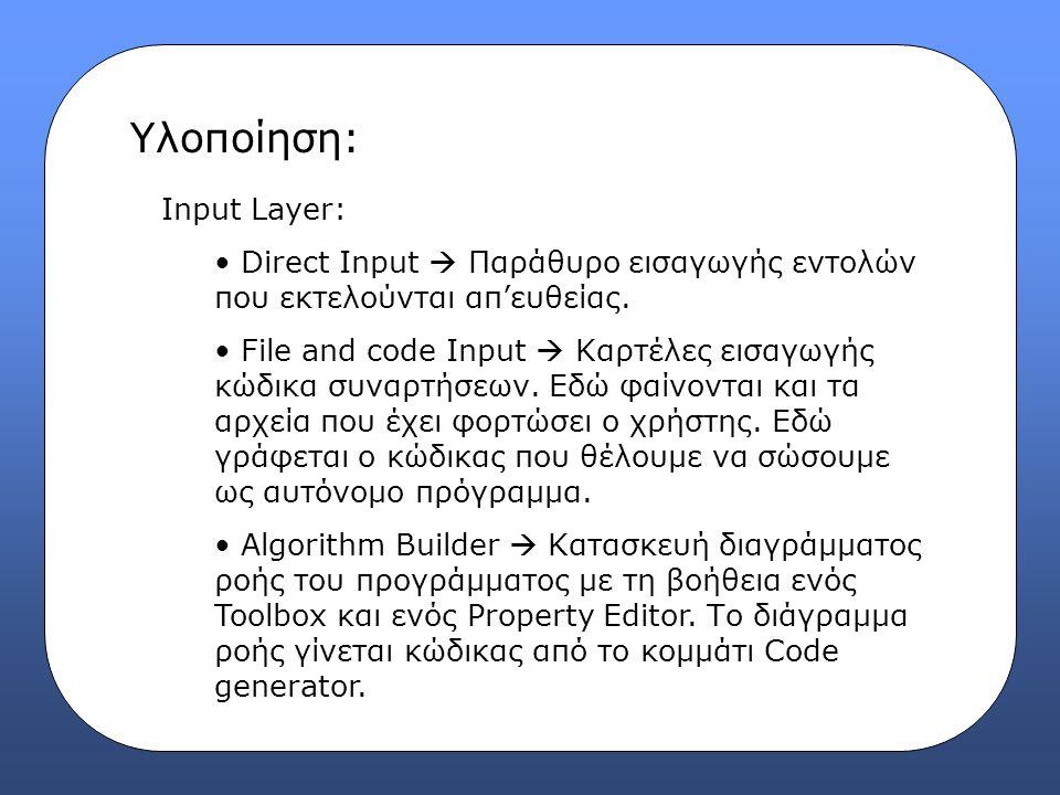 Υλοποίηση: Input Layer: Direct Input  Παράθυρο εισαγωγής εντολών που εκτελούνται απ'ευθείας. File and code Input  Καρτέλες εισαγωγής κώδικα συναρτήσ