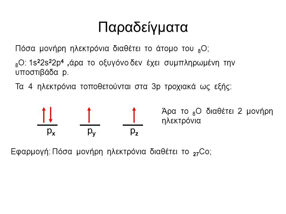 Kανόνας του Hund «Ηλεκτρόνια που καταλαμβάνουν τροχιακά της ίδιας ενέργειας( άρα της ίδιας υποστιβάδας) έχουν κατά προτίμηση παράλληλα σπιν» (και άρα μέγιστο συνολικό σπιν) Προφανώς ένα άτομο που έχει συμπληρωμένες όλες του τις υποστιβάδες δεν διαθέτει μονήρη ηλεκτρόνια Τα μονήρη ηλεκτρόνια θα πρέπει να αναζητηθούν σε μη συμπληρωμένες υποστιβάδες ….