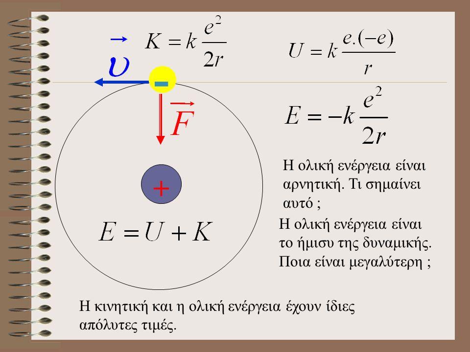 + - Η ολική ενέργεια είναι αρνητική.