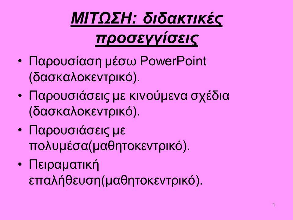 1 ΜΙΤΩΣΗ: διδακτικές προσεγγίσεις Παρουσίαση μέσω PowerPoint (δασκαλοκεντρικό).